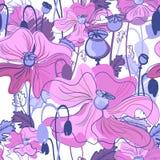 无缝鸦片样式桃红色和紫色 库存照片