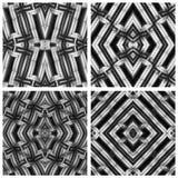 无缝,抽象和几何3D墙纸,黑和丝毫 库存照片