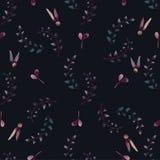 无缝水彩花卉元素的样式 免版税库存图片