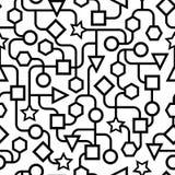 无缝黑白几何的样式 库存照片