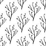 无缝黑白手拉,乱画,背景的,背景花卉传染媒介样式 斯堪的纳维亚,种族样式 库存照片