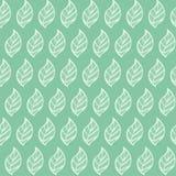 无缝绿色叶子的模式 免版税库存图片