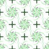 无缝绿色四渔风花和图  免版税库存照片