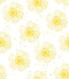 无缝黄色花纹花样的传染媒介 库存例证