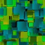 无缝绿色attern与正方形 时髦行家印刷品 现代 免版税库存图片