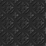 无缝3D典雅黑暗纸艺术样式009圆的发怒叶子 库存例证