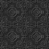 无缝3D典雅黑暗纸艺术样式029圆的发怒花 免版税库存照片
