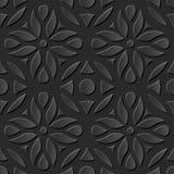 无缝3D典雅黑暗纸艺术样式189圆的曲线花 免版税图库摄影