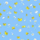 无缝butteflies的雏菊 免版税图库摄影