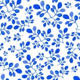 无缝Handpaint蓝色的水彩 免版税库存图片