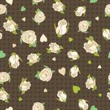 无缝patern与在棕色背景的米黄玫瑰 免版税库存图片