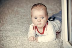 无罪,秀丽,纯净 有蓝眼睛的婴孩在可爱的面孔 免版税库存照片