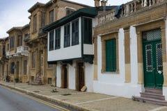 无背长椅连栋房屋,尼科西亚,塞浦路斯 免版税图库摄影