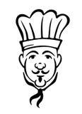 无边女帽和领带的厨师 库存照片