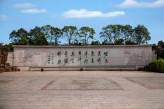 无锡灵山巨人菩萨风景区Ashoka专栏正方形墙壁 图库摄影