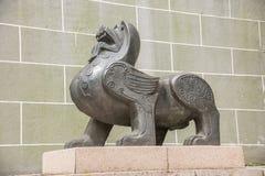 无锡Taihu鼋头渚太湖不朽的宫殿Lingxiao宫殿野兽 库存照片