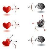 无限争斗,心脏对脑子、脑子优胜者和心脏优胜者变异 库存图片