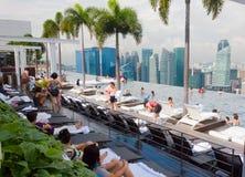 无限池,海滨广场海湾旅馆,新加坡 库存照片