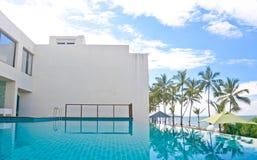 无限游泳池在位于肋的区域Negambo,斯里兰卡的一家热带旅馆里 免版税库存图片