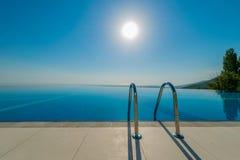 无限水池在明亮的夏日 免版税库存图片