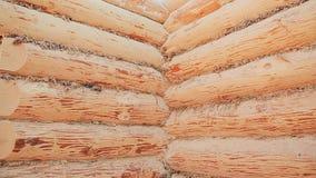 无终端接头的大厦墙壁 加拿大角度石工 加拿大样式 木房子由日志做成 影视素材