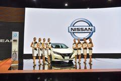 日产在显示的叶子汽车在第35泰国国际Mo 库存图片