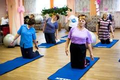 日健康在被禁用的福利事业的中心领退休金者的和 免版税图库摄影
