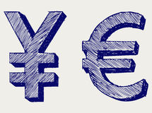 日元和欧元 库存图片