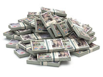 日元堆包装在白色的金钱 免版税库存图片