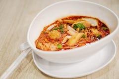日元Ta Fo,与鱼丸的泰国面条,海鲜汤和红色sau 库存照片
