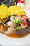 日元Ta Fo,泰国样式海鲜汤面 免版税图库摄影