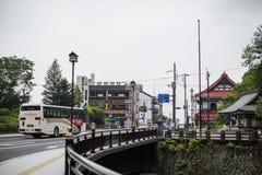 日光,日本- 6月18 :在日光旅游讯息铈前面 免版税库存图片