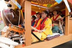 日光,日本- 4月16 :日光的人们庆祝弥生festiva 免版税库存图片