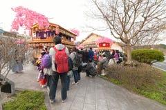 日光,日本- 4月16 :日光的人们庆祝弥生festiva 免版税图库摄影