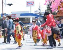 日光,日本- 4月16 :日光的人们庆祝弥生festiva 图库摄影