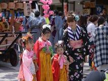 日光,日本- 4月16 :日光的人们庆祝弥生festiva 免版税库存照片