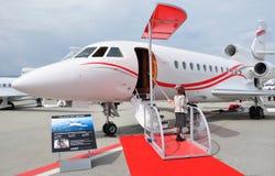 日内瓦市:在日内瓦airportthe航空产业展示` s的EBACE 免版税库存照片