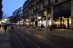 日内瓦晚上 免版税图库摄影