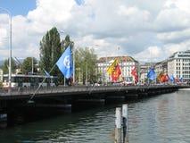日内瓦桥梁旗子 库存图片