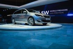 日内瓦汽车展示会的标致汽车308 库存照片