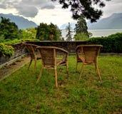 日内瓦湖和瑞士阿尔卑斯风景  免版税库存图片