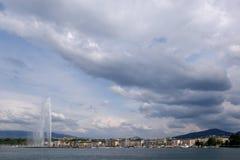 日内瓦湖瑞士视图 免版税库存照片