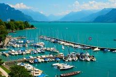 日内瓦湖端口 免版税图库摄影
