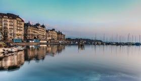 日内瓦湖边平地 库存图片