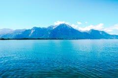 日内瓦湖,瑞士美丽的景色  免版税库存照片