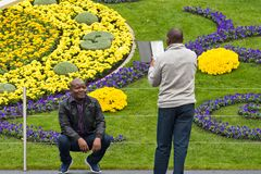 日内瓦瑞士:时钟花新的设计 免版税图库摄影