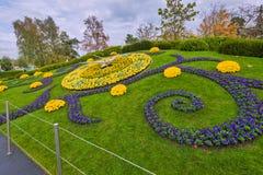 日内瓦瑞士:时钟花新的设计 免版税库存照片