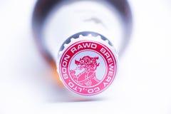 日内瓦瑞士- 11 06 2018年:著名泰国啤酒Singha优质进口泰国 免版税库存照片