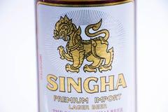 日内瓦瑞士- 11 06 2018年:著名泰国啤酒Singha优质进口泰国 库存照片