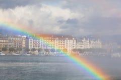 日内瓦看法从湖雷曼的 库存图片